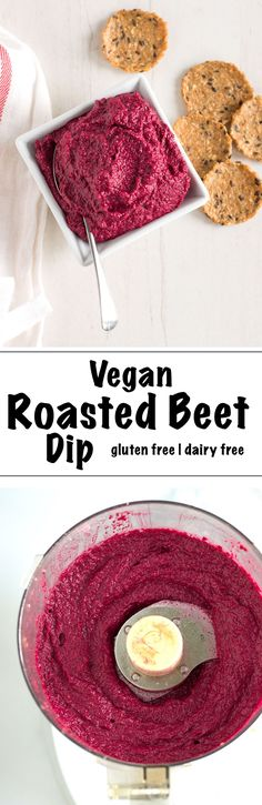A delicious and unique Vegan Roasted Beet Dip recipe (that's gluten free and dairy free too!). This purple snack is made with roasted beets and garlic, walnuts, fresh herbs and a little lemon. Perfect as a dip for crackers or as a spread on sandwiches. | nourishedtheblog.com |
