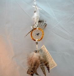 Tiny Natural Dreamcatcher with a gray Poodle, Car Dreamcatcher, 2 inch by OriginalsByCathy on Etsy