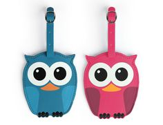 Luggage Tags + Whoo Owl Assorted | Leatherette luggage tags. Back side has sleave for name card. Adjustable strap. Comes in blue or pink - color picked by availability | kikkerland.com | #Gifts #Owls