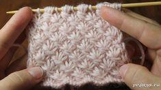Интересный текстурный узор спицами из цветочков – «маргариток» так же еще называют «звездочками»; под описанием доступное видео для просмотра.