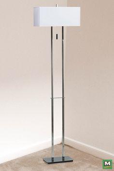 Hunter Lighting® Emilio Floor Lamp with Chrome Finish and White Linen Shade.
