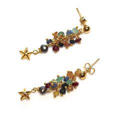 Gold Vermeil Star Dangle Earrings Grey Pearl Ruby by FizzCandy, $55.00