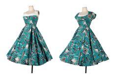 Vintage 50s ALFRED SHAHEEN Hawaiian Strapless Halter Sundress Bolero Full Skirt #AlfredShaheen