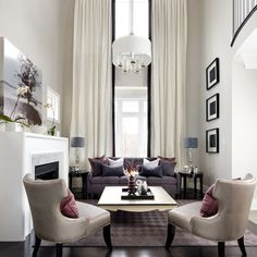 Love High Ceilings In Living Room With Floor To Ceiling Window So Bright And Inviting