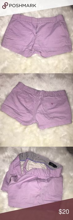 J. CREW LIGHT PURPLE CHINO SHORTS J. Crew light purple chino shorts. Great condition, but a few small stains on the side. Not noticeable when wearing. Will lower price if bundled with other J. Crew products. J. Crew Shorts