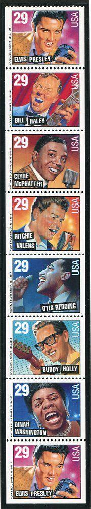 Rock & Roll- Rhythm & Blues Issue United States, 1993 NEVER FOLDED Pane – No Tab