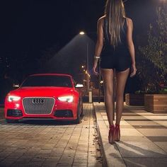 With Love to Audi. Beautiful girl and Red Audi coupe photo Audi Rs5, Audi Quattro, Sexy Cars, Hot Cars, Audi Germany, Sexy Autos, Red Audi, Luxury Boat, Bmw Autos