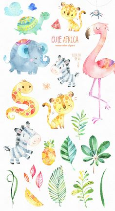 atercolor Bundle of cute Animals included Characters, Objects, Arrangements, Food, Floral Elements a Cute Animal Illustration, Watercolor Illustration, Graphic Illustration, Animals Watercolor, Watercolor Paintings, Deco Jungle, African Animals, Drawing Tutorials, Nursery Art
