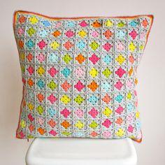 Crochet Cushion Cover Colorful Cotton 47 x 47 cm voor kussen 50 x 50 Katoen met rits aan de achterkant