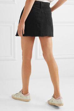Madewell - Frayed Denim Mini Skirt - Black - 25