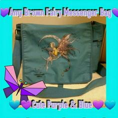 💙Amy Brown Fairy Messenger Bag💙 Used for college. Just needs a washing as can see from back but still amazing color of blue it really pops with the purple fairy. Amy Brown design. Hard to see in last photo but her signature is on the inside of pocket inside bag. Big enough for laptop and books or a good weekender bag. Amy Brown Bags