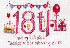 18th Birthday Cross Stitch Kit - £16.95 on Past Impressions. | For any new adult crafter, this is the ultimate birthday surprise. Greet someone on their 18th with this lovely congratulatory cross stitch kit by Nia.