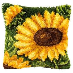 2 Sets Sunflower Latch Hook Rug Kit for Adults DIY Cushion Blanket Making