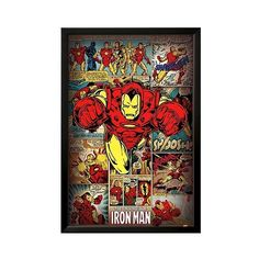 Art.com Marvel Comics-Iron Man-Retro Poster, Red ($9.99) ❤ liked on Polyvore featuring home, home decor, wall art, extra pink, red home accessories, retro wall art, pink flamingo wall art, red home decor and red wall art