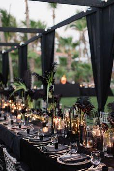 Modern wedding decor - Lauryn and Michael's Gothic Cabo San Lucas Real Wedding – Modern wedding decor Wedding Week, Wedding Table, Wedding Ceremony, Wedding Venues, Wedding Set Up, Black Tablecloth Wedding, Gold Wedding, Wedding Bride, Wedding Updo