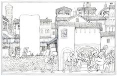 John Shelley: work-in-progress pen & ink spread from 'Stone Giant' before colouring.