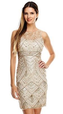 SUE WONG Champagne Silver Beaded Sequin Wedding Bridal Cocktail Illusion Dress 4