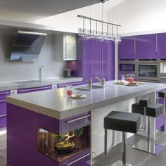 Decoration, The Breathtaking Design Kitchen Wall Colors With White Cabinets With The Purple Wall And The Pendant Lamp Also The White Roof With Purple Cabinet With The Black Square Chair ~ The Best Style Of The Different Shades Of Purple Paint With The Good And The Excellent Style