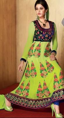 Charming Parrot Green Chudidar Kameez