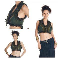 Pixie Vest, Gypsy Clothing, Elven Vest, Pirate Vest, Fairy Vest, Festival Top, Burning Man Clothing, Burlesque Vest, Boho Top, Tribal Vest #tribalvest #elvenvest #burningman #burningmanclothing #bohovest