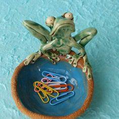 Ceramic Frog Dish Sculpture