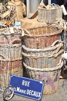 French baskets and street signs - always available at MAI in Houston, just in case you're not going to France any time soon!