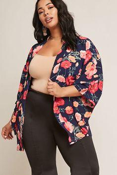 Product Name:Plus Size Floral Kimono, Category:CLEARANCE_ZERO, Price:14