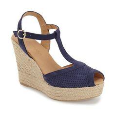 "Cordani 'Endira' Wedge Sandal, 4"" heel (3,375 MXN) ❤ liked on Polyvore featuring shoes, sandals, navy, high heel platform sandals, navy blue wedge sandals, platform wedge sandals, peep toe sandals and wedge espadrilles"