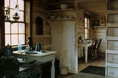 The historic Maltese Cross Cabin's kitchen.