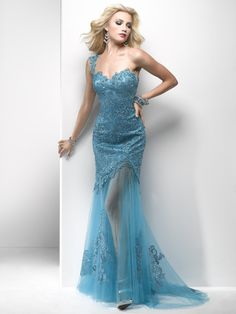 Oceana Blue Lace & Tulle One Shoulder Drop Waist Prom Dress - Unique Vintage - Cocktail, Pinup, Holiday & Prom Dresses.