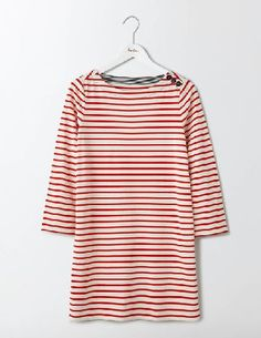 #Boden Sailor Breton Tunic Ivory/Snapdragon Women #Weve added a modern twist of nautical-style to our classic Breton tunic, with turnback cuffs and sailor buttons on the shoulder. Throw on with leggings or skinny jeans for those impromptu weekend breaks by the sea.