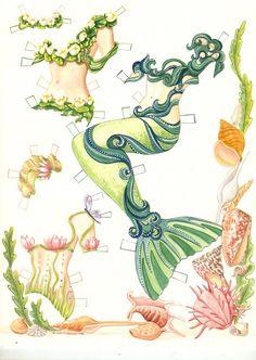 mermaid paper doll under the sea