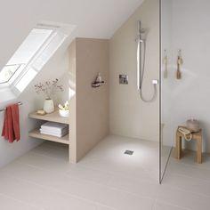Douche à l'italienne avec receveur de douche ultra plat http://www.m-habitat.fr/douche/elements-de-douches/le-receveur-de-douche-608_A