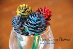 Pine Cone Flower Craft for Kids Bellanca Kendall McMahon Lump Toys Pinecone Crafts Kids, Pine Cone Crafts, Craft Projects For Kids, Crafts For Kids, Projects To Try, Fun Arts And Crafts, Arts And Crafts Projects, Kindergarten Art, Adult Crafts