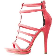 Charlotte Russe Tubular Platform Dress Sandals (905 INR) ❤ liked on Polyvore featuring shoes, sandals, pink, platform dress sandals, pink sandals, strappy dress sandals, t-strap shoes and dress sandals