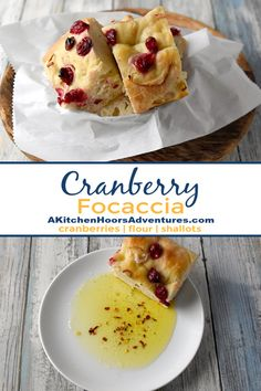 Cranberry Focaccia is super easy and mostly hands off. It's topped with roasted cranberries and shallots and perfect dipped in olive.