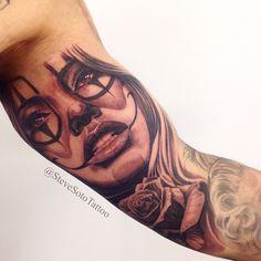 his tattoo was a fun one I really enjoy doing Rose Tattoos, Leg Tattoos, Girl Tattoos, Tattoos For Guys, Sleeve Tattoos, Tattoos Pics, Tattos, Gangster Tattoos, Chicano Tattoos