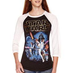 Star Wars Raglan-Sleeve Baseball T-Shirt (£18) ❤ liked on Polyvore featuring tops, t-shirts, raglan sleeve t shirts, raglan t shirts, raglan baseball tee, baseball tee shirts and raglan sleeve baseball tee