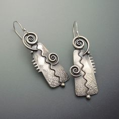 Sterling Silver Big Bold Twirl Dangle Earrings by LizardsJewelry