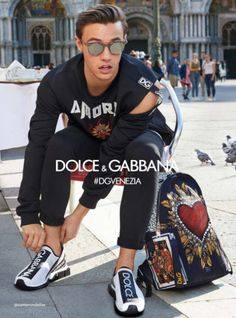 86b9408d57f9 Dolce   Gabbana takes us to Venice for its spring-summer 2018 campaign. The  advertisement features familiar faces such as Cameron Dallas