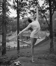 Alessandra Ball James: The dancer takes her ballet slippers off to pose on a rocky outcrop in New York's Central Park