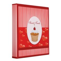 What a cute way to keep all your sweet treats (desserts) with this adorable cupcake, hearts and stripes recipe binder.