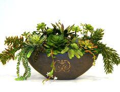 Artificial Succulents in Large Black Ceramic Boat Artificial Succulents, Planter Pots, Ceramics, Large Black, Plants, Boat, Color, Design, Ceramica