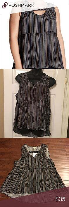 Lovely 2x Stripe babydoll blouse Brand New  - V-neck with lace inset detail - Sleeveless - Front smock detail - Allover striped print - Hi-lo hem  Fiber Content 100% rayon love on a hanger Tops Blouses
