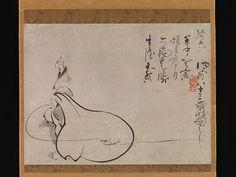 Hotei Pointing at the Moon, Fūgai Ekun (Japanese, 1568–1654), Hanging scroll; ink on paper, Japan