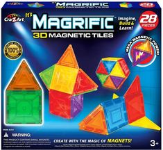 Start designing bigger ideas with the Magrific 28 Piece magnetic tile building set. New Magrific magnetic tiles let you imagine, create, and build: animals, buildings, gems and so much more with the magic of magnets! Halloween Costume Shop, Halloween Costumes For Kids, Magnetic Toys, Z Arts, Kids Party Supplies, Personalized Favors, Kids Store, Building Toys, 3 D