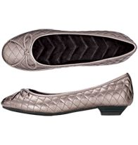 """Cushion Walk® Quilted Shoe - Ballet style flat is both stylish and comfy. Leatherlike pewter-color upper. Wave-molded footbed. 3/4"""" H heel. Skid-resistant sole. ITEM 169-397"""