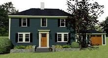 Blue siding black shutters exterior house pinterest for Norman rockwell siding