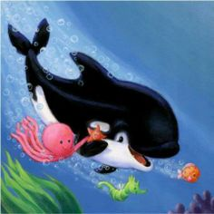 Diamond Painting Cartoon Sea Animals Kit in 2020 Cartoon Sea Animals, Cartoon Fish, Seahorse Cartoon, Fish Drawings, Cartoon Drawings, Singing Fish, School Murals, Octopus Art, Water Animals
