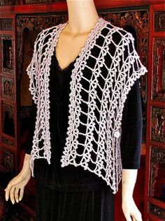 Alzannah is a quick to crochet vest that converts easily to an asymmetrical & ruana-type wrap. The pattern includes choices for customizing both length and width, crocheting larger sizes, and converting the vest into a ruana or wrap. It's a pleasure to try it on as you go; it's constructed from the center out to each sleeve opening.